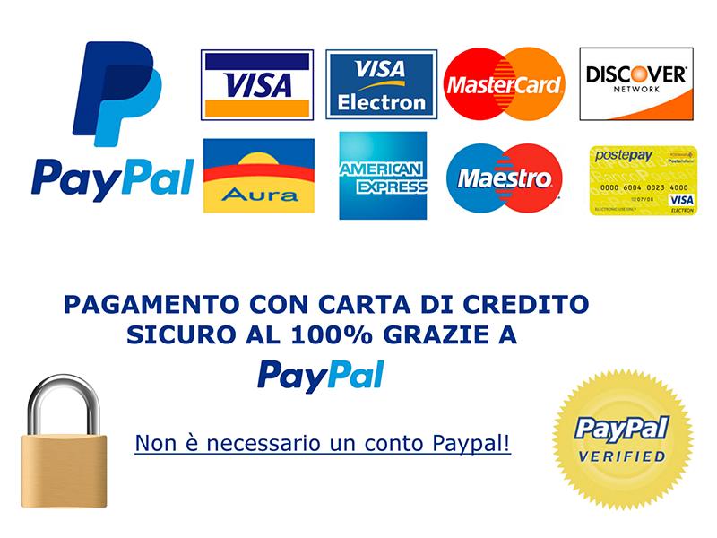 Paga con Paypal. Pagamento sicuro.